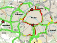 Several roads in Paris were jammed from early morning