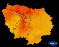 Airparif map shows (in red) dangerously high levels of air pollution
