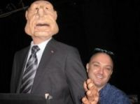 Journalist Oliver Rowland with Chirac's puppet