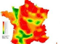 Red areas show badly affected areas, green ones unaffected ones