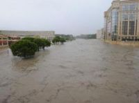 The river Lez burst its banks outside the regional council HQ in Montpellier – Screengrab: RMC