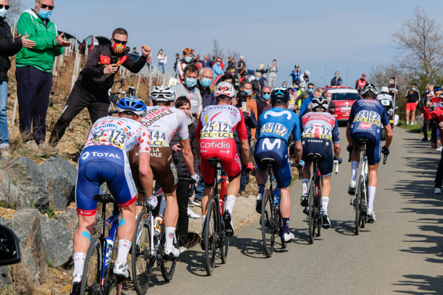 A group of cyclists from behind at the Tour de France 2021