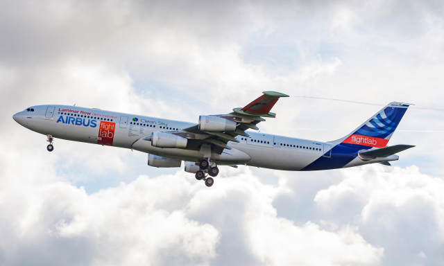 Airbus Flight Lab A340 with new wing sections fitted to test laminar flow