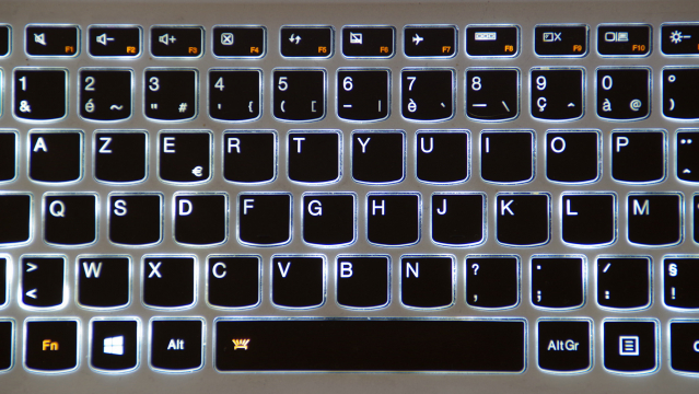 Backlit French Azerty keyboard of black keys