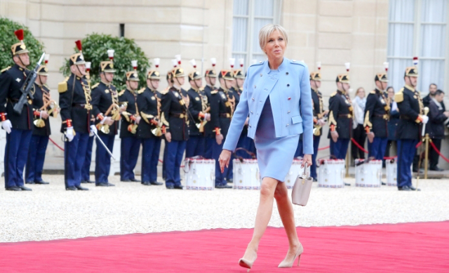 Brigitte Macron entering Elysee at Presidential installation