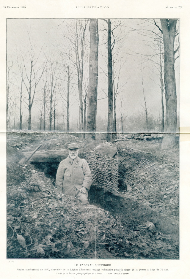 Charles Surugue in a trench he was digging on the front line at Toul, Lorraine