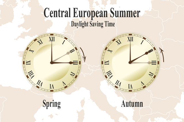 Two clocks with faded image of Europe in background