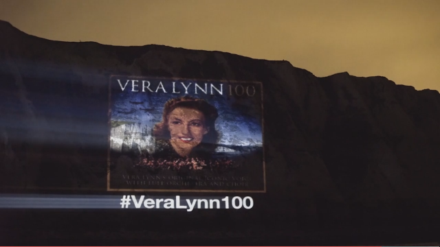 Black background with image of Dame Vera Lynn and the words #VeraLynn100