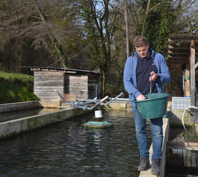 Edouard Roullet at trout farm Les Eaux de l'Inval