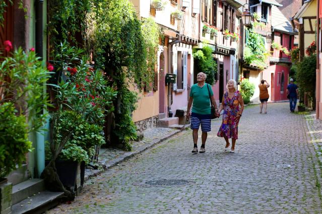 Elderly couple walking in France