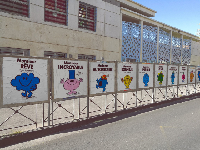 Mr Men images on posters stretching into distance