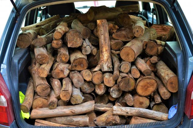 Firewood in car
