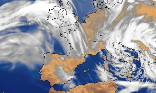 Artificial satellite image of storm over north-western France and UK