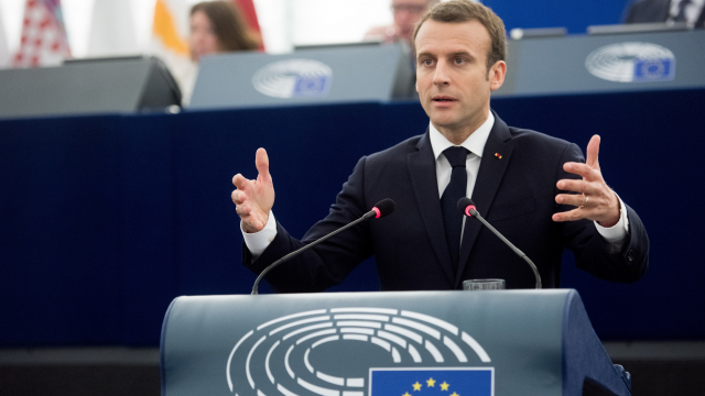 President Macron  in a speech before the European Parliament
