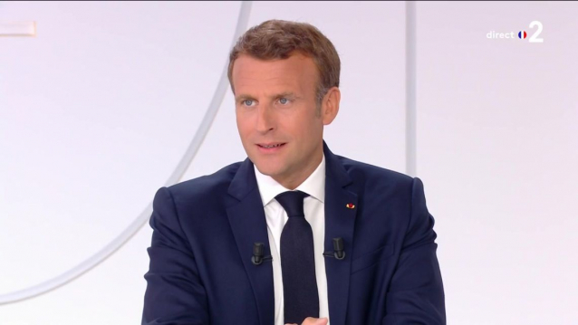 France President Emmanuel Macron speaks during a live TV interview on July 14 2020