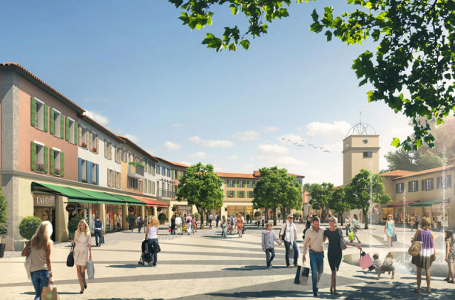 Drawing of a street with trees in distance and shoppers with bags under blue sky