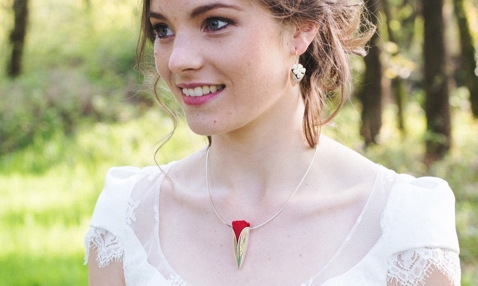 Necklace with tiny red rose and earrings with little white flowers