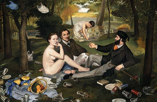 Dark painting of picnickers in a debris filled clearing