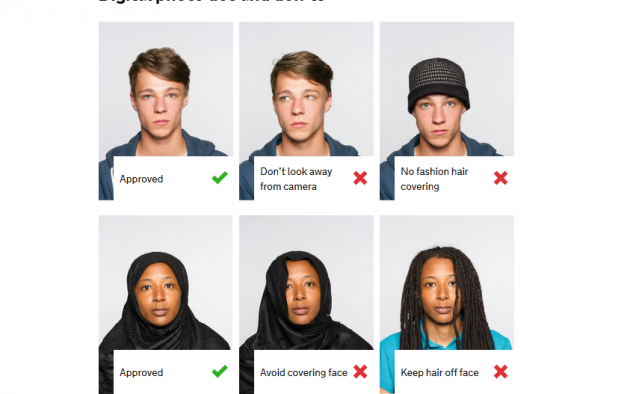 line up of three sets of faces for passport photos