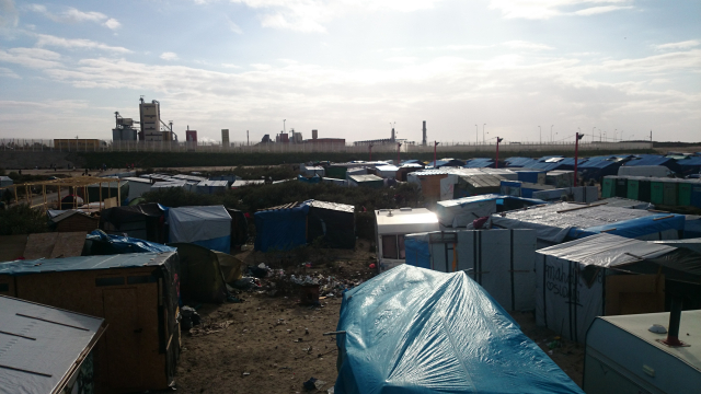 General view of the Calais 'Jungle' migrant camp