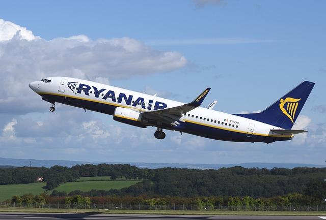 A Ryanair flight takes off