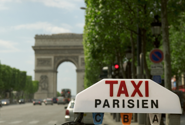 Parisian taxi on the Champs-Elysees
