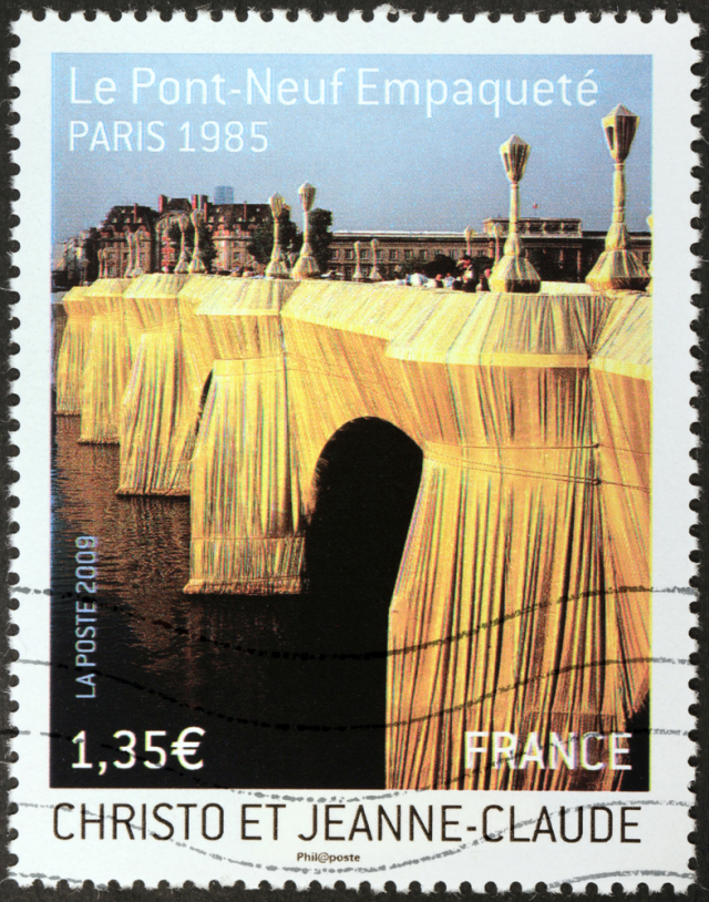 French stamp showing The Pont Neuf Wrapped by Christo.