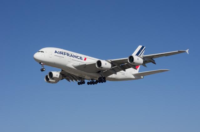 Air France Airbus A380 shown approaching LAX.