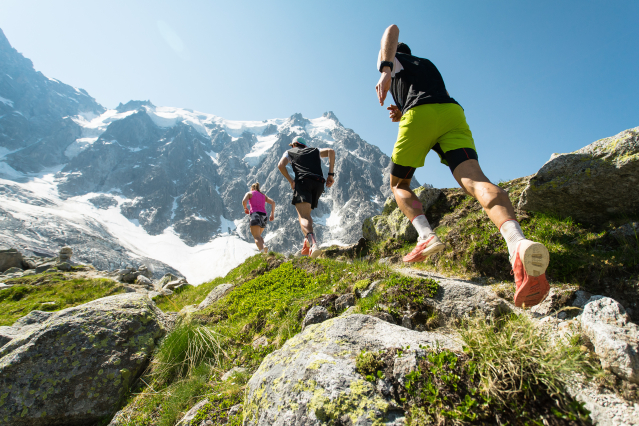 Trail runners in the Alps mountain range.