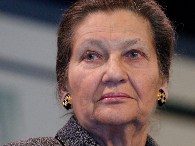 Head and shoulders of older woman Simone Veil