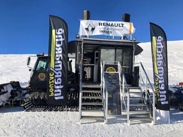 Snowtasty food truck is an old ski station snowplough