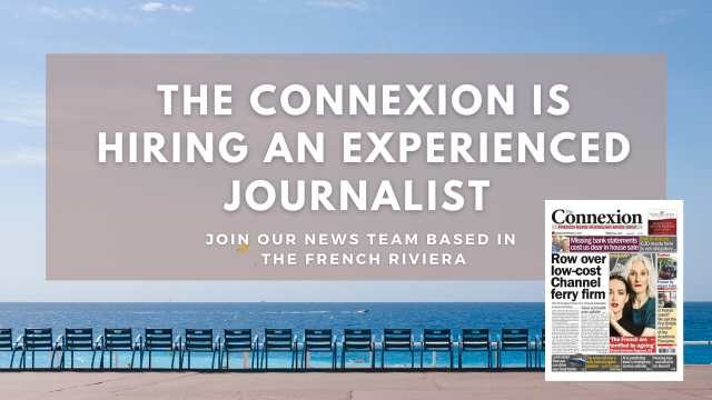 Picture of chairs along Nice promenade with text: The Connexion is hiring an experienced journalist