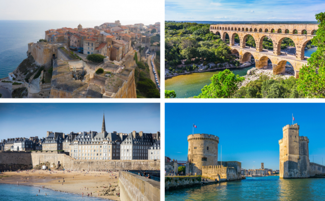 Citadel of Bonifacio, Pont du Gard Aqueduct, the ramparts of Saint-Malo and the towers of La Rochelle