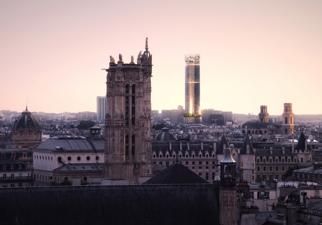 View across Paris skyline to the Tour Montparnasse