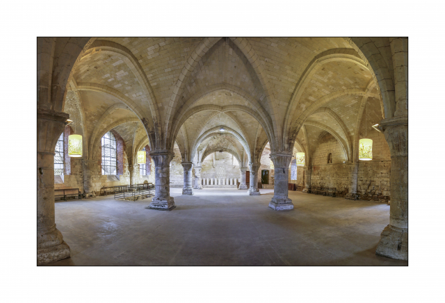Soaring arches of the vaults in the chapter house at Vaucelles Abbey give a great play of colours