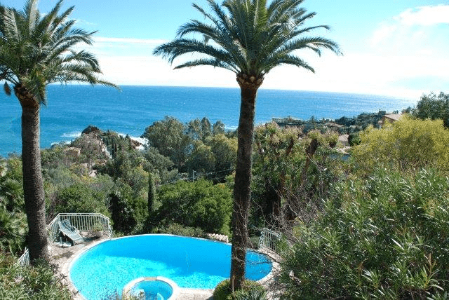Palm trees and other trees with blue swimming pool, blue sea and blue sky
