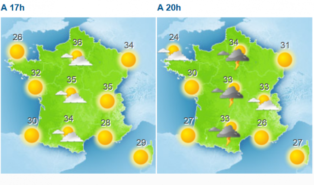 Two weather maps of France with suns and thunderstorms