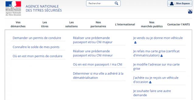 Website of the Agence National des Titres Sécurisés