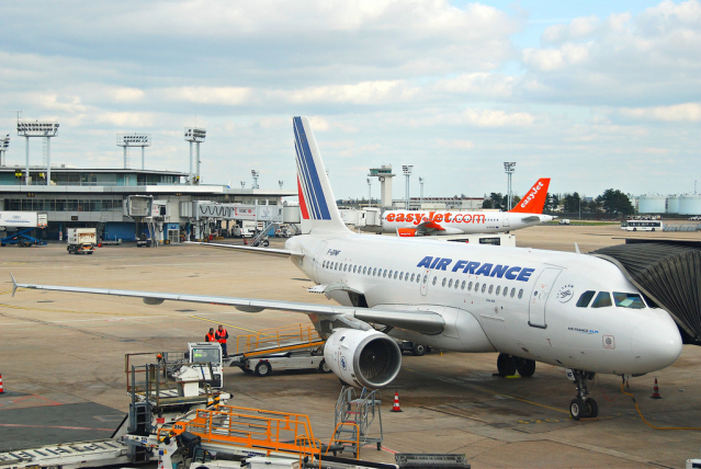 An Air France plane at an embarkation slot at Paris Orly airport