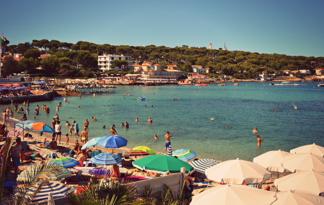 holiday makers on a beach at Antibes, French Riviera