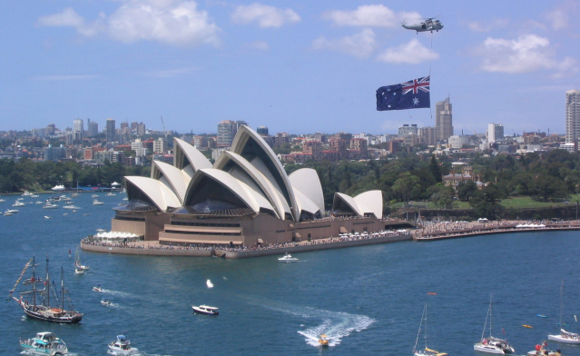 View of Sydney Opera House and bay