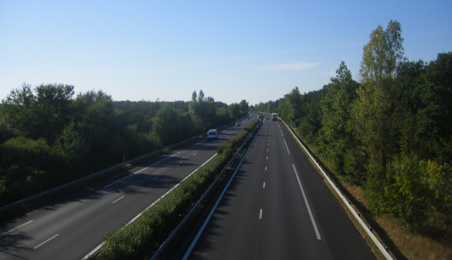 Generic view of an autoroute (motorway) in France