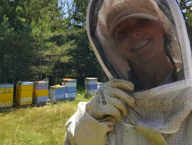 beekeeper with hives