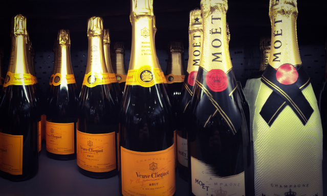 Bottles of Veuve Clicquot and Moët et Chandon Champagne