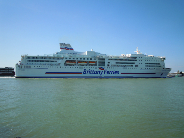 Brittany Ferries MV Pont-Aven RO-RO transport ferry arriving in Portsmouth Harbour