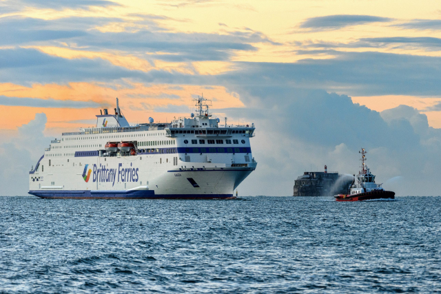 Brittany Ferries' Galicia ship with a sunset behind