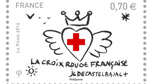 Stamp showing a red cross inside a heart with wings
