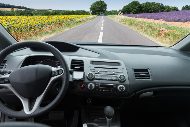 View from a car onto French fields