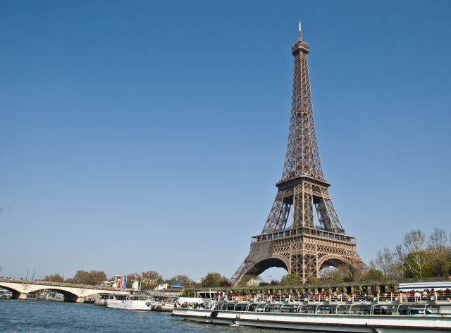 The Eiffel Tower as seen from the River Seine