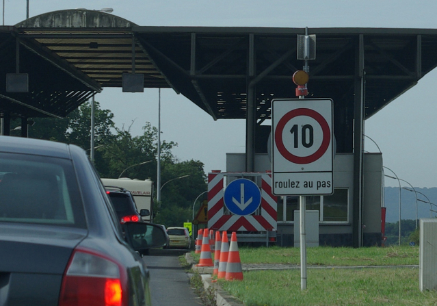 Queue of vehicles at the France border